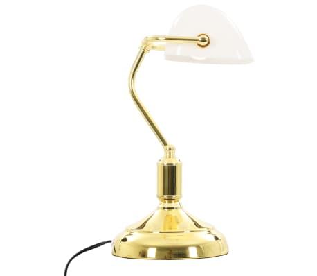 vidaXL Lámpara de mesa tipo banquero blanco y dorado 40W[6/13]