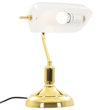 vidaXL Lámpara de mesa tipo banquero blanco y dorado 40W[5/13]