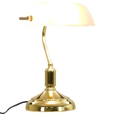 vidaXL Lámpara de mesa tipo banquero blanco y dorado 40W[7/13]