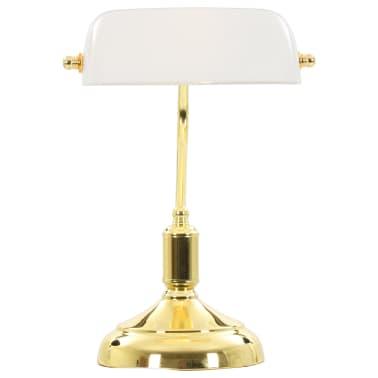 vidaXL Lámpara de mesa tipo banquero blanco y dorado 40W[8/13]
