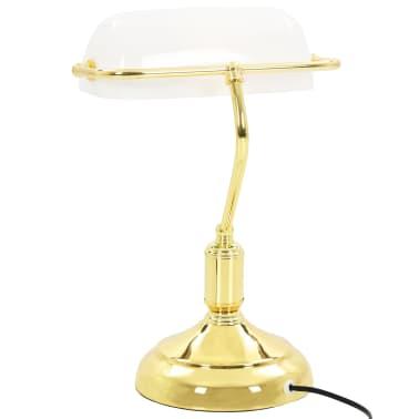 vidaXL Lámpara de mesa tipo banquero blanco y dorado 40W[11/13]