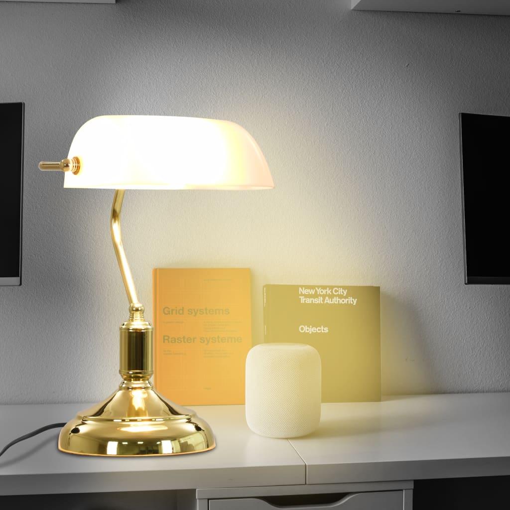 Comwinkel Bankierslamp 40 W wit en goud