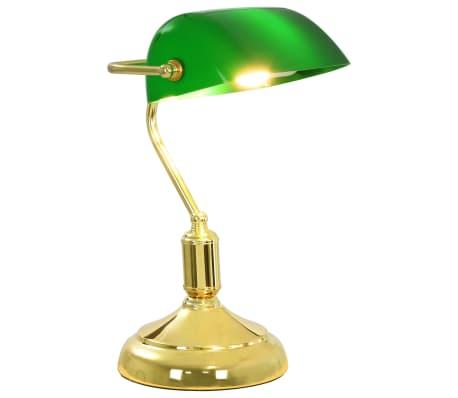 vidaXL Lámpara de mesa tipo banquero verde y dorado 40 W[2/13]