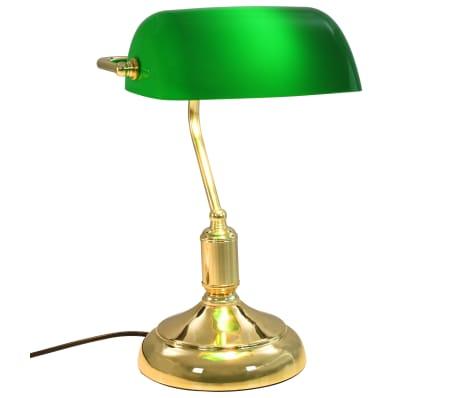 vidaXL Lámpara de mesa tipo banquero verde y dorado 40 W[5/13]