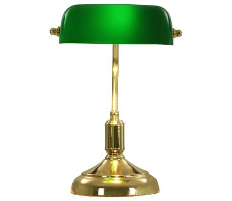 vidaXL Lámpara de mesa tipo banquero verde y dorado 40 W[9/13]