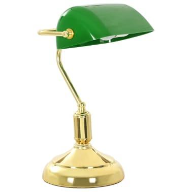 vidaXL Lámpara de mesa tipo banquero verde y dorado 40 W[3/13]