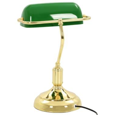 vidaXL Lámpara de mesa tipo banquero verde y dorado 40 W[4/13]
