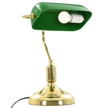vidaXL Lámpara de mesa tipo banquero verde y dorado 40 W[8/13]