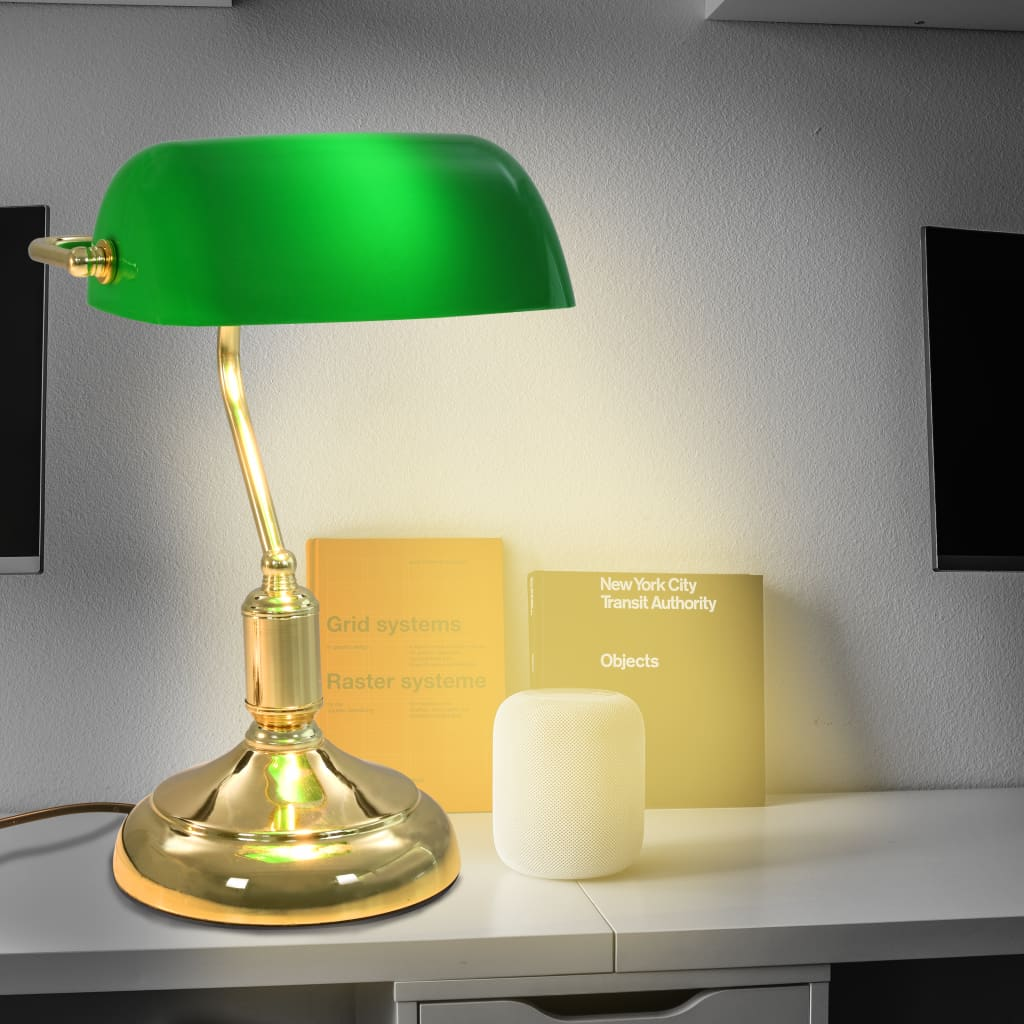 vidaXL Lampă de birou stil bancher, 40 W, verde și auriu poza 2021 vidaXL
