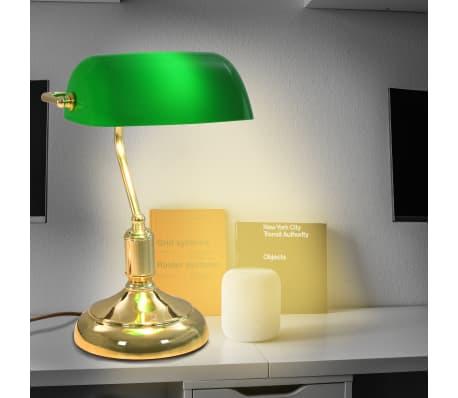 vidaXL Lámpara de mesa tipo banquero verde y dorado 40 W[1/13]