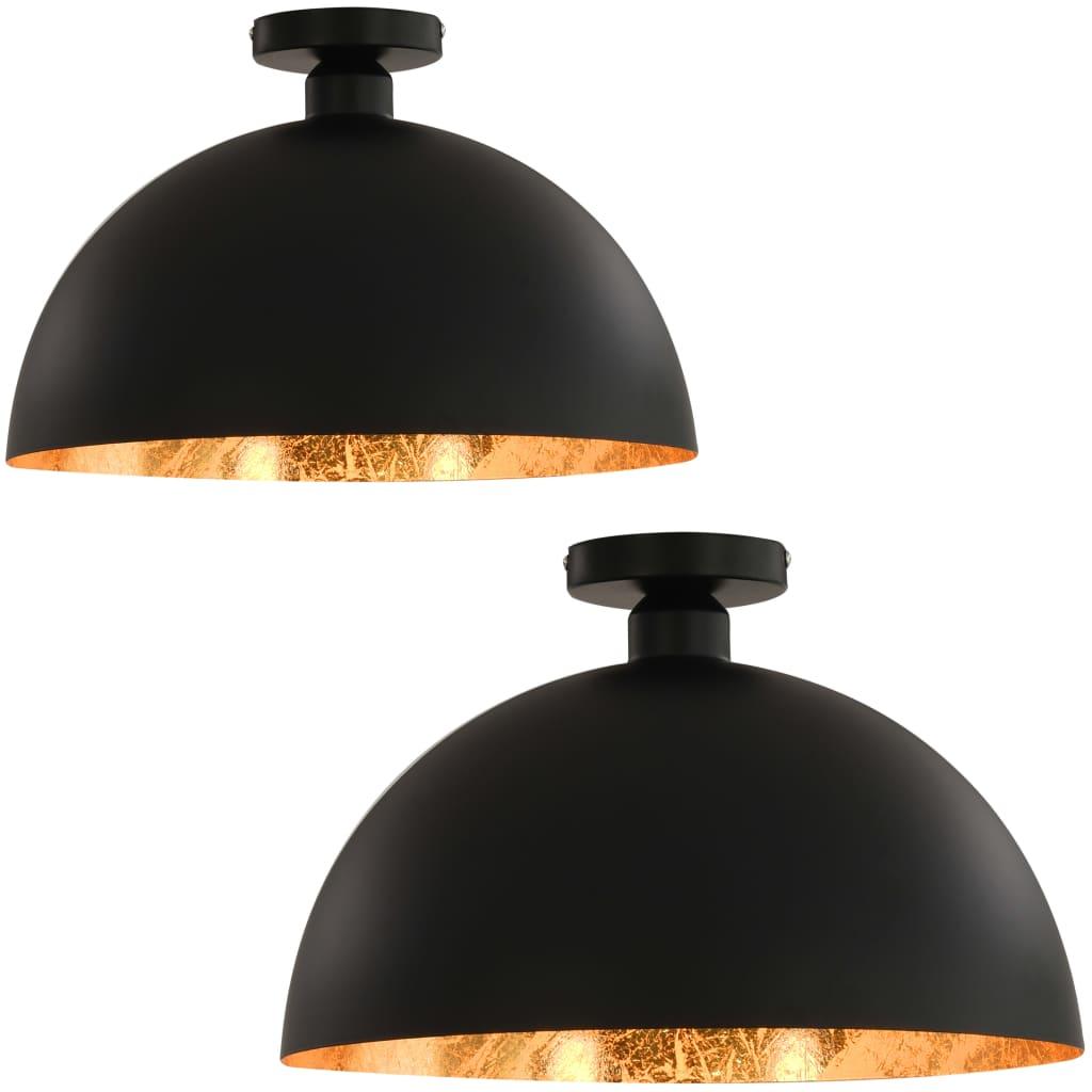 vidaXL Φωτιστικά Οροφής Ημισφαιρικά 2 τεμ. Μαύρο / Χρυσό Ε27