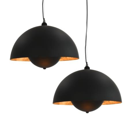 vidaXL griestu lampas, 2 gab., pusapaļas, 30 cm, E27, melnas ar zelta