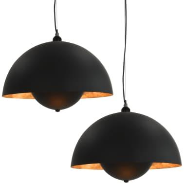 vidaXL 2 pcs Plafonniers Noir et doré Semi-sphérique 30 cm E27[2/12]