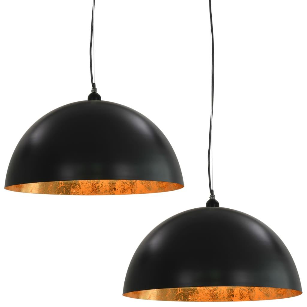 vidaXL Φωτιστικά Οροφής Ημισφαιρικά 2 τεμ. Μαύρο / Χρυσό 50 εκ. Ε27