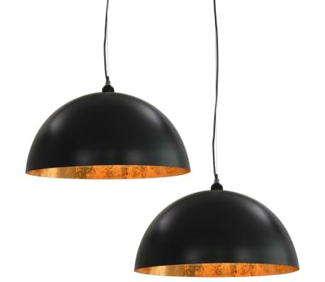 vidaXL Lámparas de techo 2 uds semiesféricas negro y dorado 50 cm E27