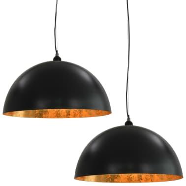 vidaXL 2 pcs Plafonniers Noir et doré Semi-sphérique 50 cm E27[2/10]
