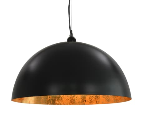 vidaXL 2 pcs Plafonniers Noir et doré Semi-sphérique 50 cm E27[6/10]