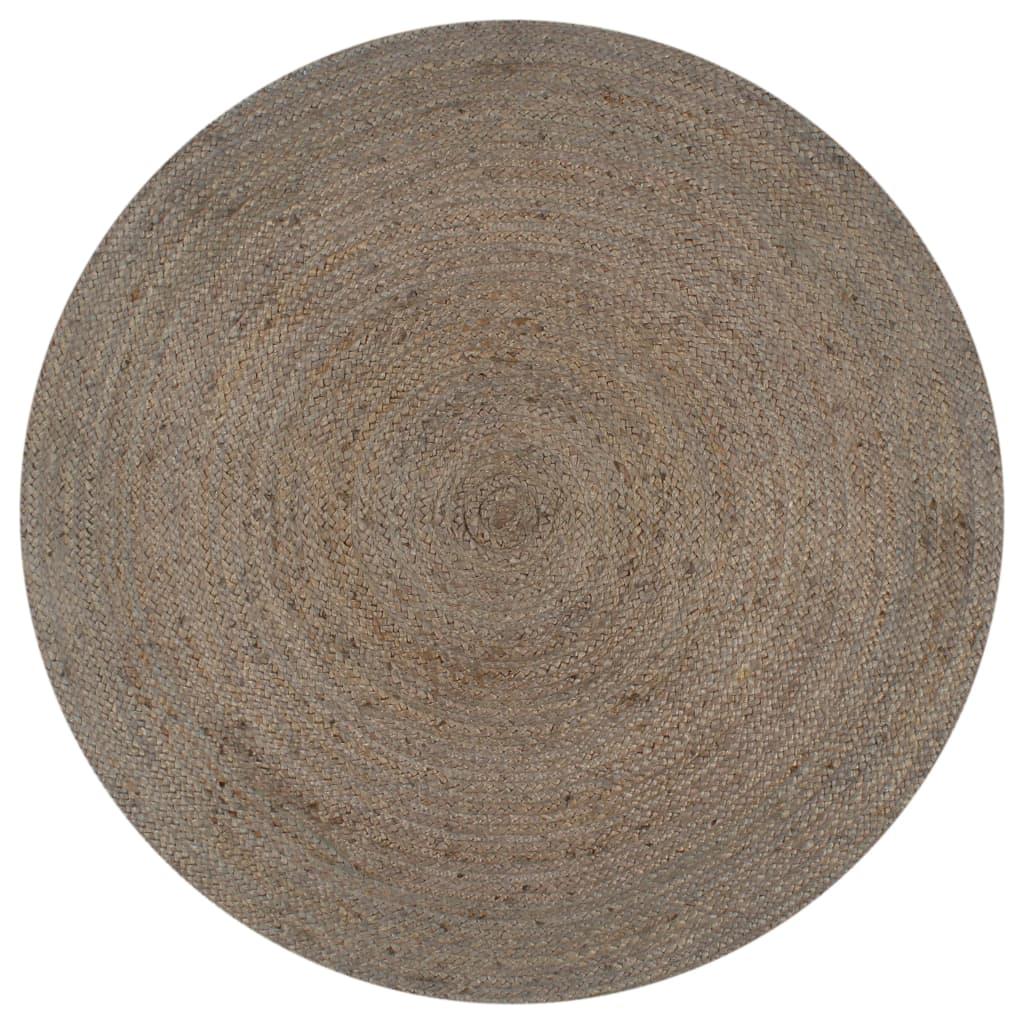 999133662 Teppich Handgefertigt Jute Rund 90 cm Grau