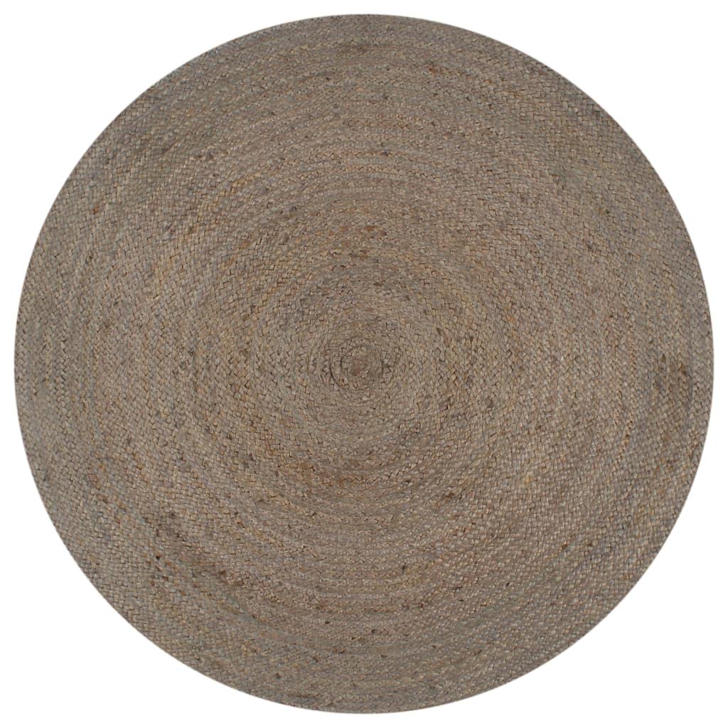 999133663 Teppich Handgefertigt Jute Rund 120 cm Grau