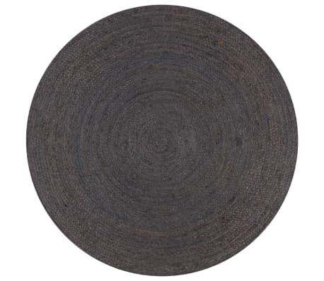 vidaXL Vloerkleed handgemaakt rond 150 cm jute donkergrijs
