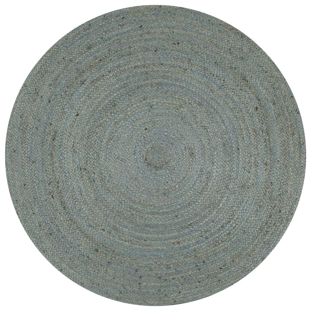 999133668 Teppich Handgefertigt Jute Rund 90 cm Olivgrün