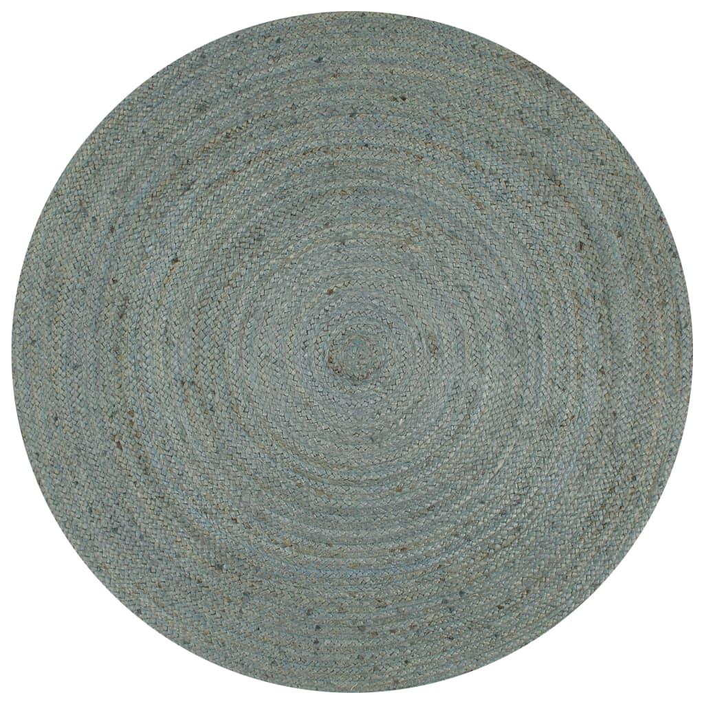 999133670 Teppich Handgefertigt Jute Rund 150 cm Olivgrün