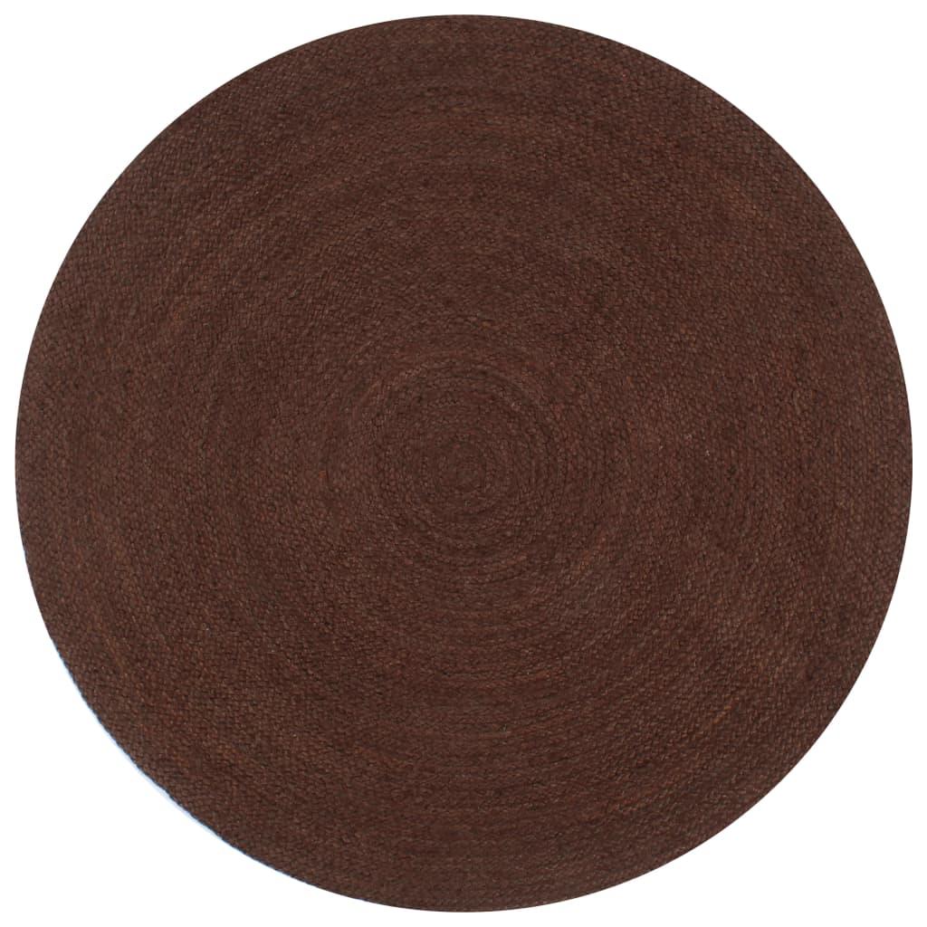 999133671 Teppich Handgefertigt Jute Rund 90 cm Braun