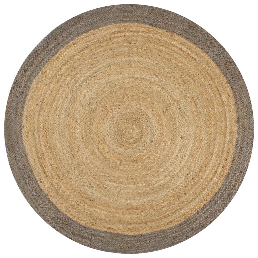 999133674 Teppich Handgefertigt Jute mit Grauem Rand 90 cm