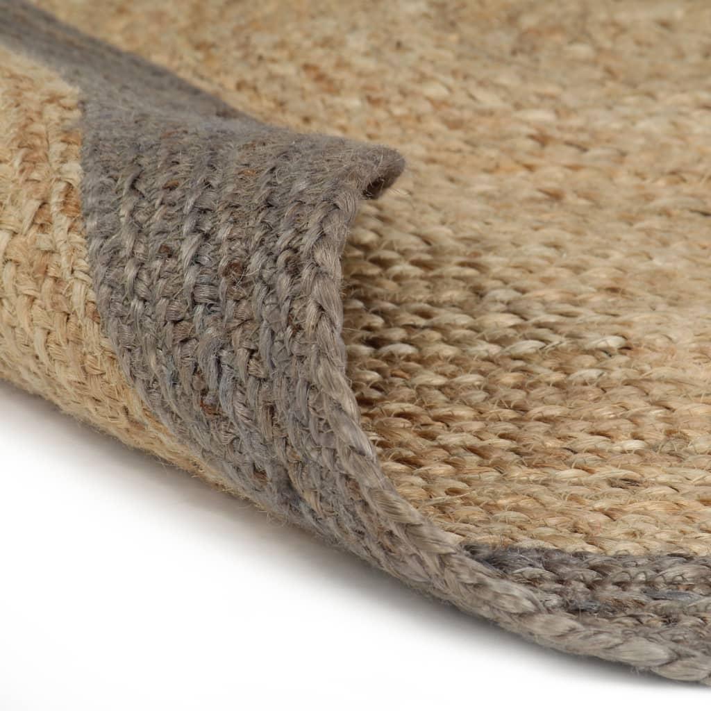vidaXL Ručně vyrobený koberec z juty s šedým okrajem 120 cm