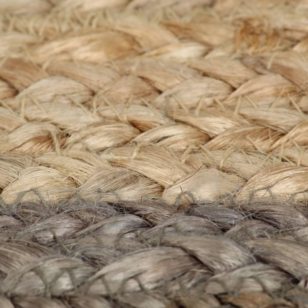 vidaXL Vloerkleed handgemaakt met grijze rand 120 cm jute
