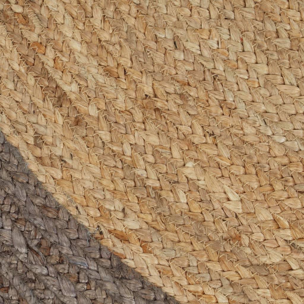 vidaXL Vloerkleed handgemaakt met grijze rand 150 cm jute