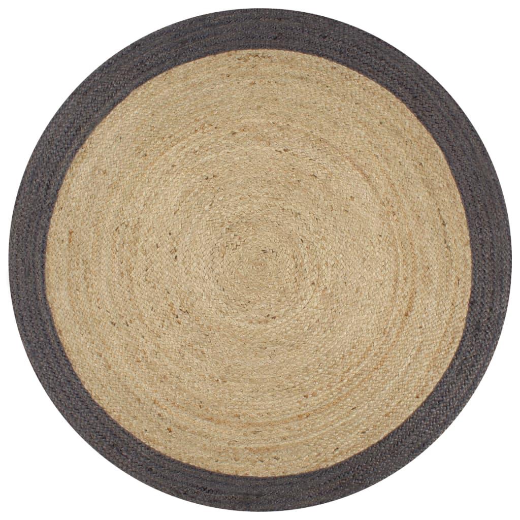 999133678 Teppich Handgefertigt Jute mit Dunkelgrauem Rand 120 cm