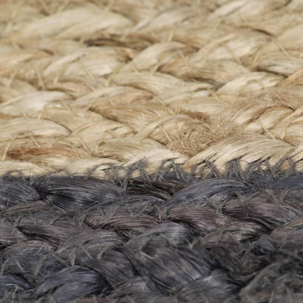 vidaXL Vloerkleed handgemaakt met donkergrijze rand 150 cm jute
