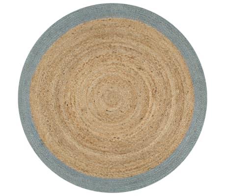 vidaXL Vloerkleed handgemaakt met olijfgroene rand 90 cm jute