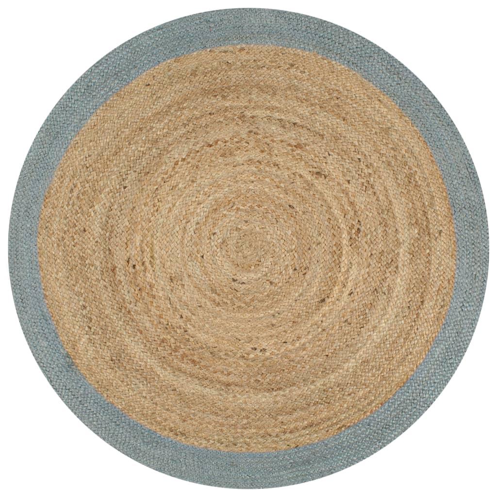 999133681 Teppich Handgefertigt Jute mit Olivgrünem Rand 120 cm