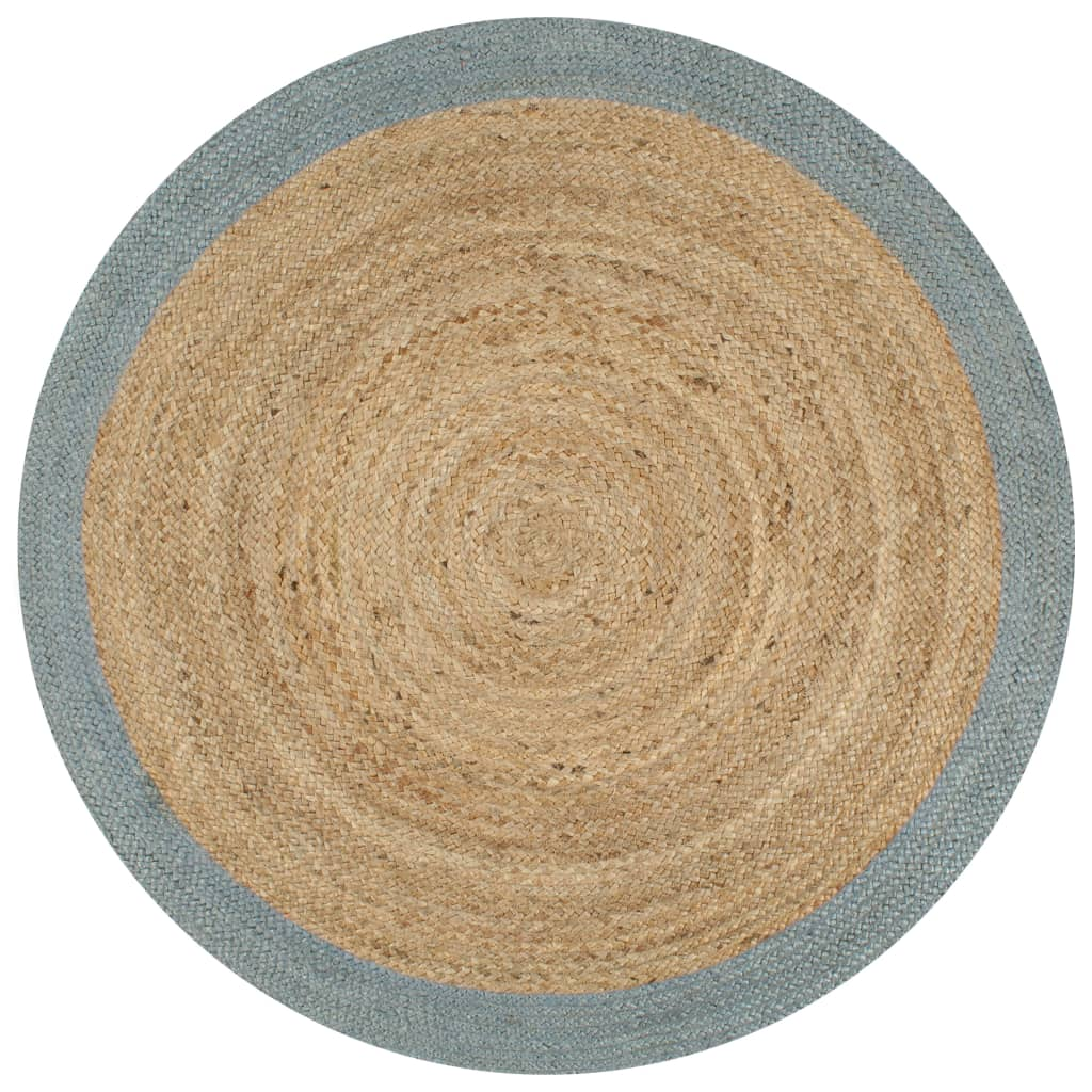 999133682 Teppich Handgefertigt Jute mit Olivgrünem Rand 150 cm
