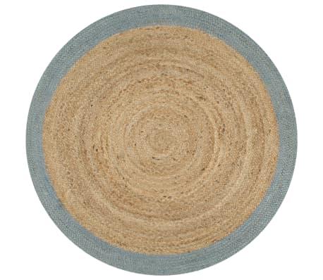 vidaXL Vloerkleed handgemaakt met olijfgroene rand 150 cm jute