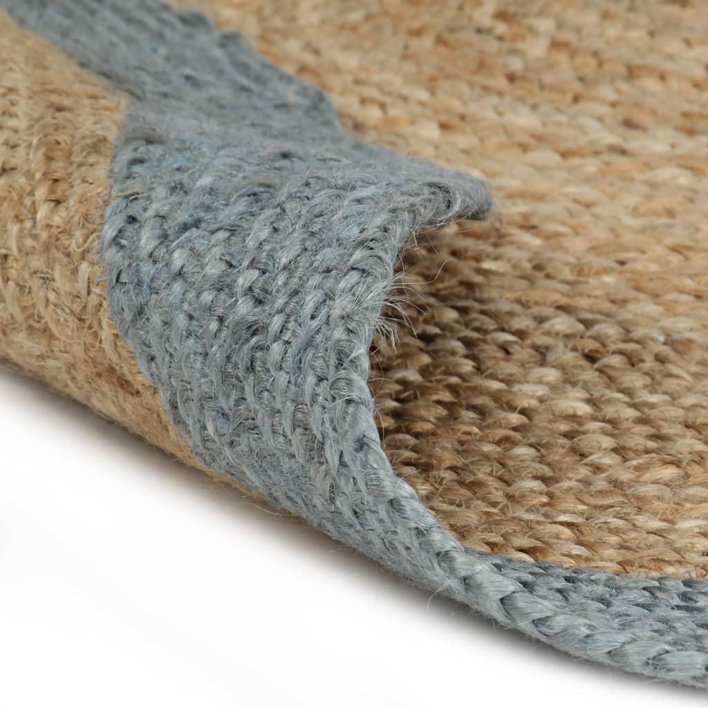 vidaXL Ručně vyrobený koberec z juty s olivově zeleným okrajem 150 cm