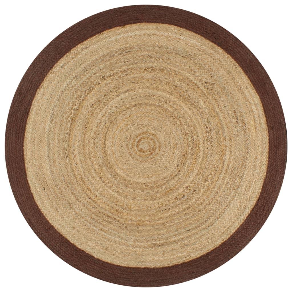 999133684 Teppich Handgefertigt Jute mit Braunem Rand 120 cm