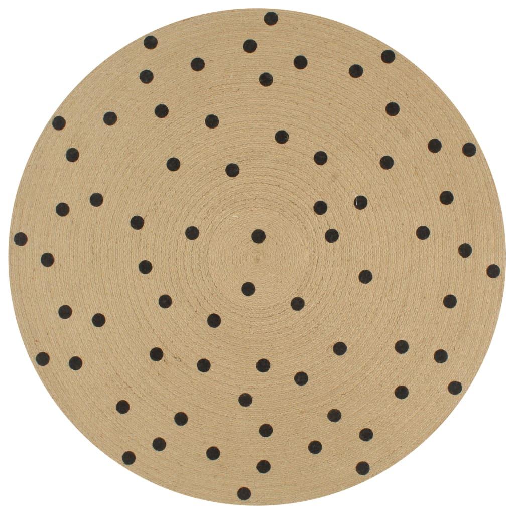 999133686 Teppich Handgefertigt Jute mit Punktmuster 90 cm