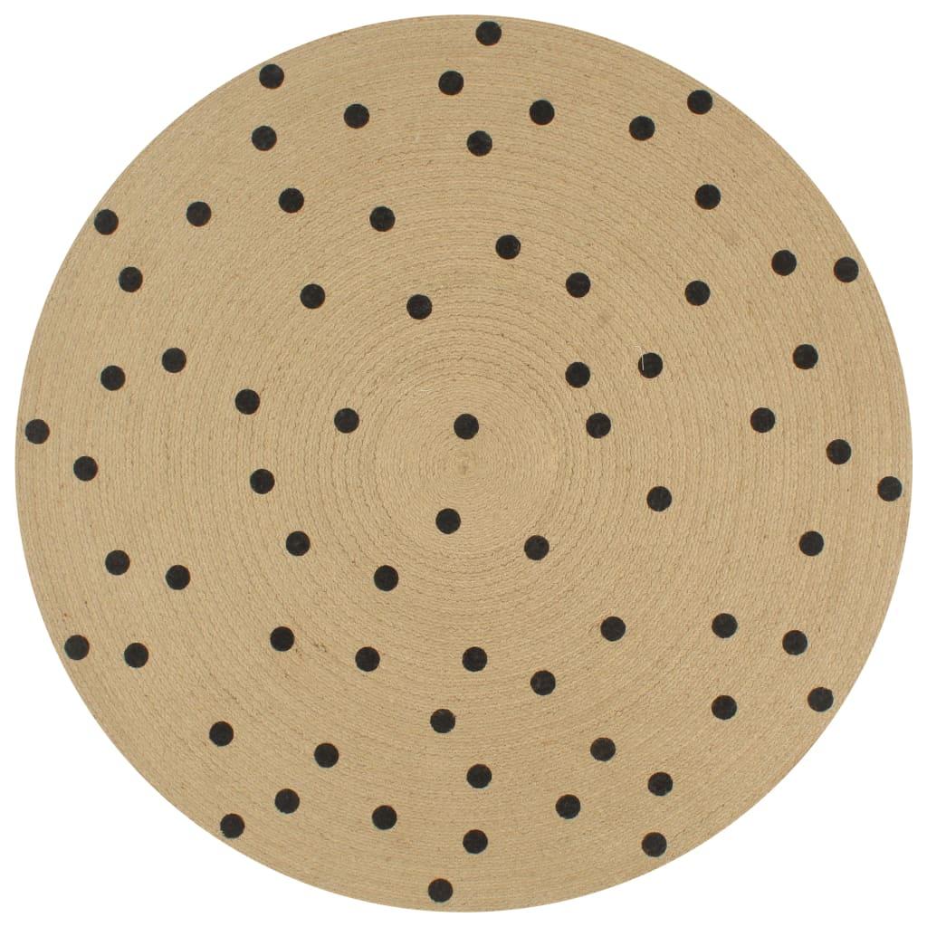999133687 Teppich Handgefertigt Jute mit Punktmuster 120 cm