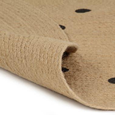vidaXL Covor manual cu imprimeu buline, 120 cm, iută[2/5]