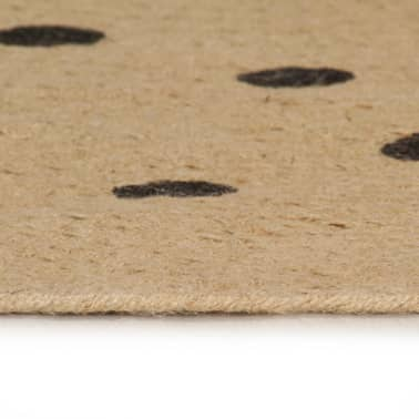 vidaXL Covor manual cu imprimeu buline, 120 cm, iută[3/5]