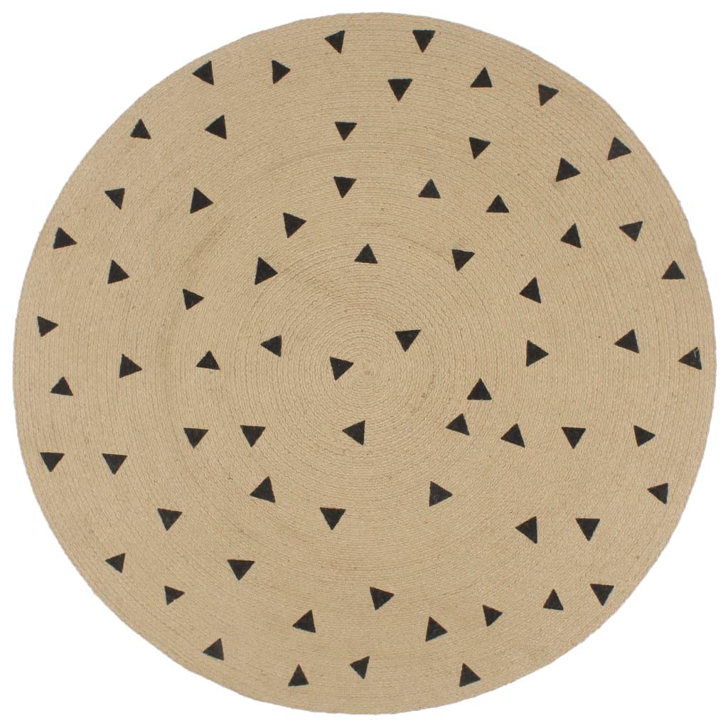 999133689 Teppich Handgefertigt Jute mit Dreiecksmuster 90 cm