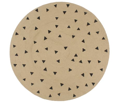 vidaXL Preproga iz jute s potiskom trikotnikov ročno izdelana 90 cm