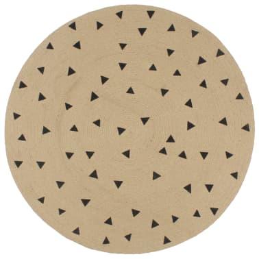 vidaXL Preproga iz jute s potiskom trikotnikov ročno izdelana 90 cm[1/5]