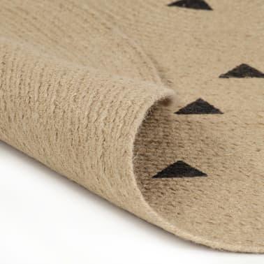 vidaXL Preproga iz jute s potiskom trikotnikov ročno izdelana 90 cm[2/5]