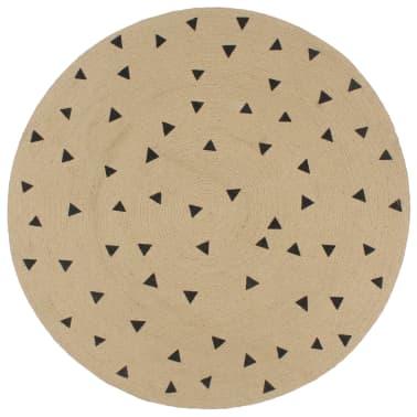 vidaXL Preproga iz jute s potiskom trikotnikov ročno izdelana 120 cm[1/5]