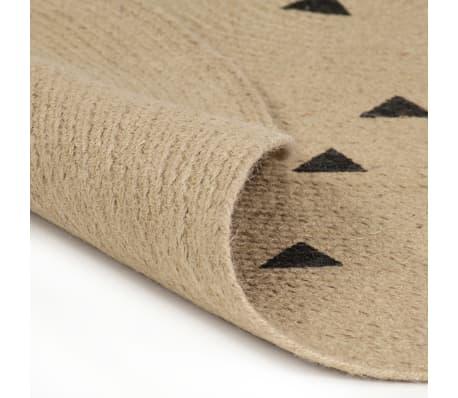 vidaXL Preproga iz jute s potiskom trikotnikov ročno izdelana 120 cm[2/5]