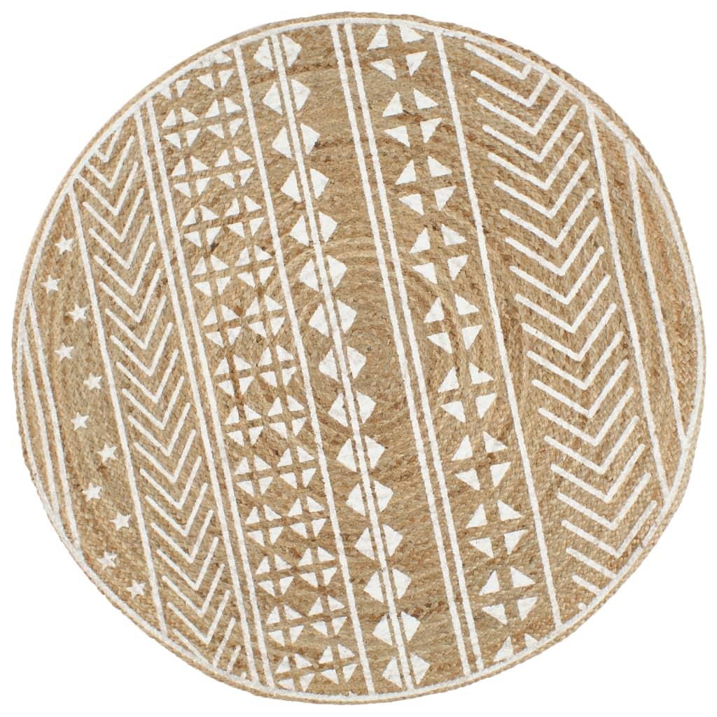 Ručně vyrobený koberec z juty s bílým potiskem 120 cm